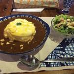 ダイゴ カフェ - 奥久慈しゃも卵のふわとろデミオムライス 980円+コーヒー250円