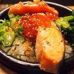 66340232 - 鮭といくらの海鮮茶漬け+炙り明太子 980円