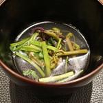 傳 - 鴨と山菜(蕨、芹)のお碗