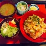 聖徳太子 - 天丼蕎麦セット 本当は味噌汁ではなく蕎麦が付きます