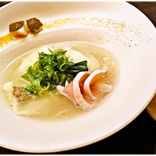 MENSHO - 料理写真:潮らーめん(わんたん増し)+味玉(西京漬け) 1200+150円 オサレっすね。