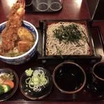 島彦本店 - 料理写真:天丼セット(ざるそば)