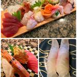 廻る寿司めっけもん - 刺し盛り7、極み三貫、尾長グロ♪