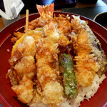 天ぷら ひさご - 桜海老のかき揚げ・大海老・海老・海老の天串・茄子・しし唐・南瓜
