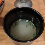 博多てんぷら・水炊きおでん なかお - スープ、味噌汁でなく美味しめ。