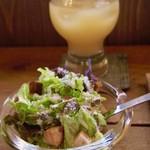 CAFE Uchi - ランチのサラダとりんごジュース