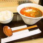らーめん たいざん - 生豆腐クリームのえびトマトらーめん ライス