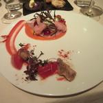 レストラン 間 - 「春スズキと柳タコの彩り、トマトのデクリネゾン」