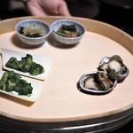 あさば - 薫風盛肴(とこぶし・たけのこ木の芽味噌和え・からし菜と海老のお浸し)