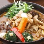 スープカレーGARAKU - ハーブ豚しゃぶと7種きのこのカレー