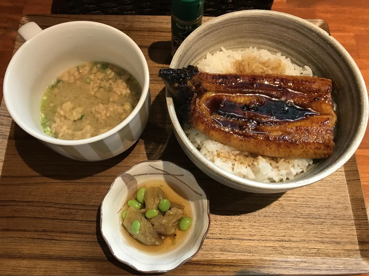 国産うなぎのうな丼と納豆汁セット(上)