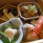 7177267 - 鱈の南蛮漬け、炙り帆立と葱のぬた、鰆の西京焼き、しろ菜のゴマだれ…