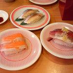 かっぱ寿司 - とろサーモン、〆さば、あじ