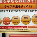 CoCo壱番屋 和歌山JR駅前店 - さて、ライスの量は、どうしましょうか。今回は400gです。