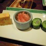 螢月 - 前菜、先付かな(きゅうりの中は白身魚)