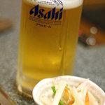 とんぼ亭 - 生ビールとお通し