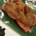 日本料理 正 - 鮭の雲丹のせ焼