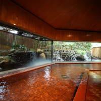 大正屋 - 大正屋大浴場『滝の湯』ガラス張りで湯船に浸かれば滝が流れて、池には鯉が泳いでいます。嬉野温泉を充分に満喫できるスチームサウナ完備。