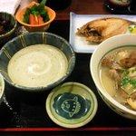 味の正福 - 貝汁とアジの開き定食