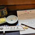 田中寿司 - 食べ放題対象のネタ表に食べたい数を記入していくシステム