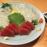 食と肴うおもと - まごちうす造り、かつお刺身、まこかれい刺身