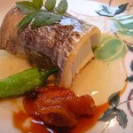 8548888 - 氷見天然太刀魚焼き 山芋と豆腐のスフレ 柚子胡椒餡ソース