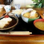 待夢 - 海老とじ丼とビーフカレー