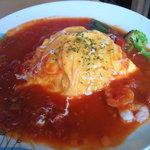 卵's工房 - セットのメイン~地野菜と海老のトマトソースオムライス(S)