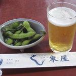 8681598 - ビールとお通しの枝豆