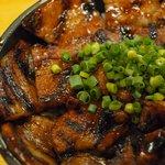 炭焼豚丼 豚野郎 - 中豚丼(680円) 中央部のアップ