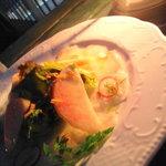 8952485 - 白身魚と桃のカルパッチョ