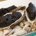 NARISAWA - アミューズ☆この真っ黒な塊は、牡蠣のフリット!炭の衣をつけて揚げてあります♪