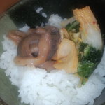 天ぷら徳家 - 白いご飯に、キムチとイカ塩辛 【 2011年8月 】