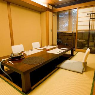 お席はすべて個室の座敷でご用意しております。