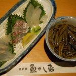 魚がし鮨本店 - 白身魚3点刺し盛り&ジュンサイ