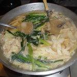 こいさん - 博多もつ鍋 棒ラーメン付き煮つまりました。