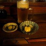 源氏 - 料理写真:生ビール&お通し①