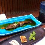 9585800 - 前菜3種と子持ち鮎の煮つけ