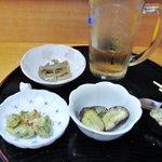 赤とんぼ - 栗&蓮金平&かき揚+ビール