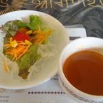 9716221 - パスタランチのサラダとスープ