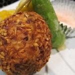 レストラン 大浜 - 無花果(イチジク)と海老アスパラ巻き